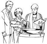 baptism baby in church line drawing
